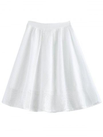 Store Elegant Solid Color Zipper Fly Mesh Skirt For Women