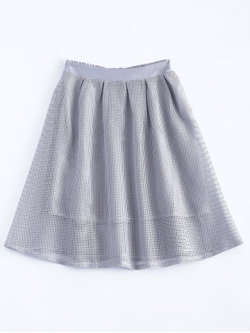 Shop Elegant Solid Color Zipper Fly Mesh Skirt For Women