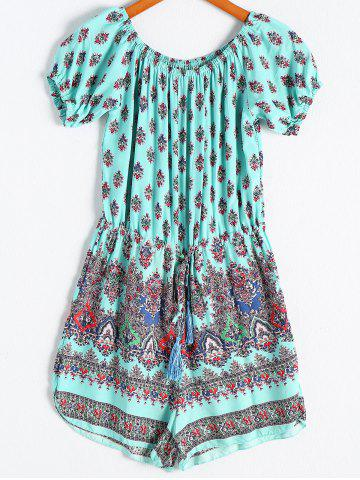 Store Ethnic Style Off-The-Shoulder Short Sleeves Print Romper For Women