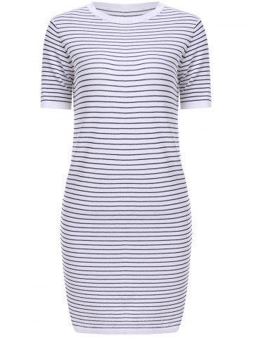 Outfit Casual Jewel Neck Striped Short Sleeves Dress For Women