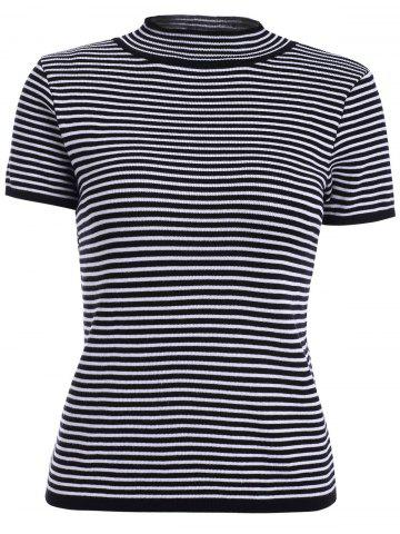 Sale Stylish Round Neck Striped Short Sleeves Knitwear For Women