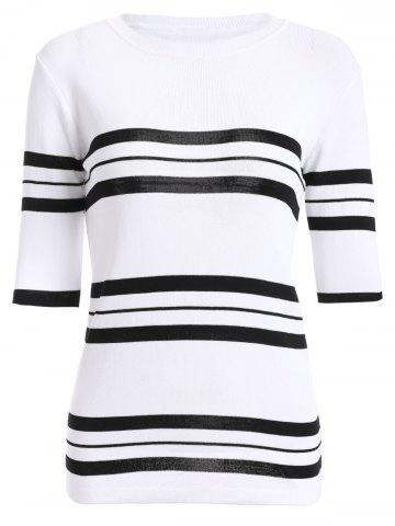 Trendy Casual Jewel Neck Striped Stitching Color 3/4 Sleeve Knitwear For Women