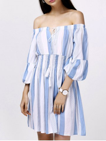 Sale Off-The-Shoulder Puff Sleeves Stripes Casual Dress