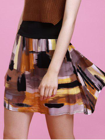 Buy Fashionable High-Waisted Multicolor Printed Slimming Women's Skirt