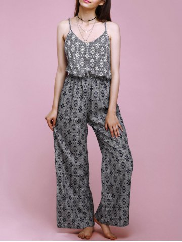 Hot Trendy Spaghetti Strap Ornate Printed Loose-Fitting Cut Out Women's Jumpsuit