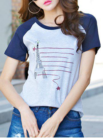 Outfits Casual Short Sleeve Round Neck Eiffel Pattern T-Shirt