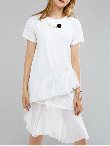 Fashion Simple Round Neck Short Sleeve Floral Embellished Layered Dress For Women