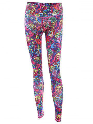 Fashion Trendy High Stretchy Printed Multicolor Women's Yoga Pants - XL COLORFUL Mobile