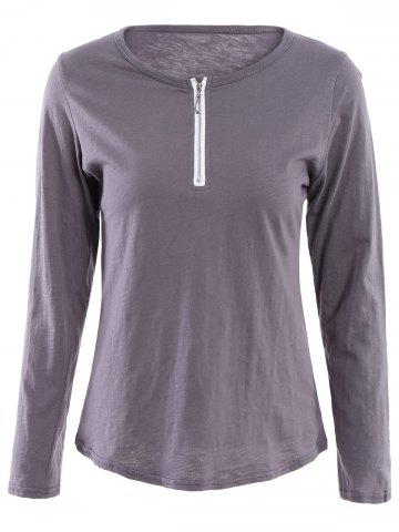Large GRAY Scoop Neck Long Sleeve Zip Up T Shirt For Women