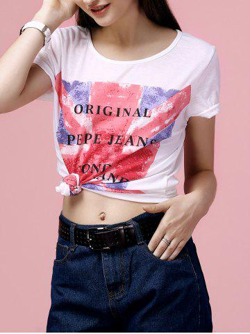Fancy Casual Scoop Neck Flag Print T-Shirt For Women