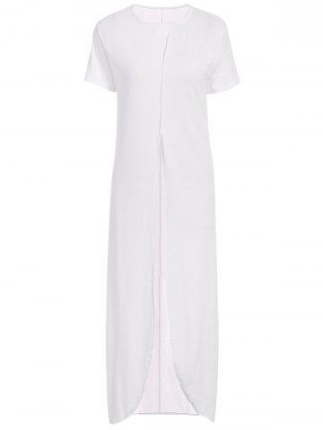 Hot Trendy Short Sleeve Asymmetrical Solid Color Dress For Women WHITE S