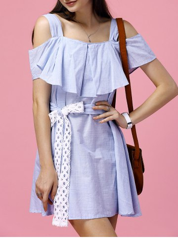 Cheap Sweet Blue Flounced Off-The-Shoulder High Waist Dress For Women