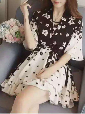 Chic Floral Print Lace Up Dress For Women - Black - M