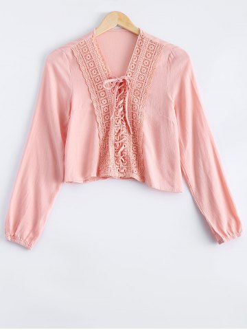 Online Stylish Long Sleeves Lace Panelled Blouse For Women