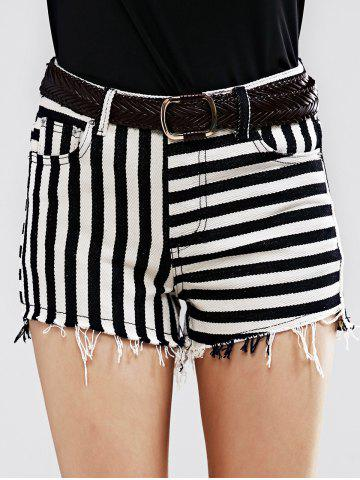 Outfits Stylish Striped Denim Shorts For Women