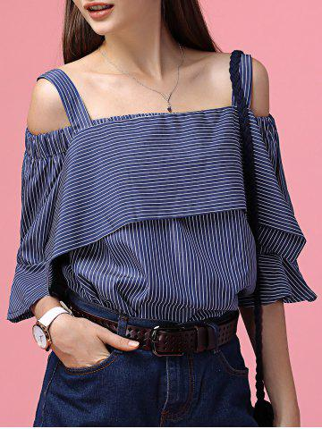 Unique Chic Off-The-Shoulder Striped Tee + Little Crop Top Twinset For Women