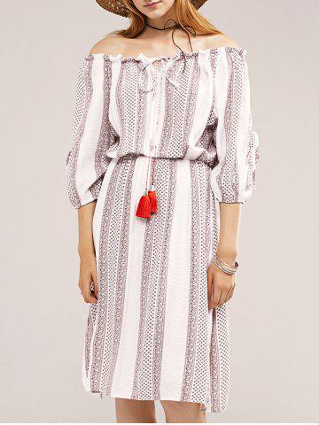 Trendy Stylish Off The Shoulder Ethnic Print Lace-Up Dress For Women