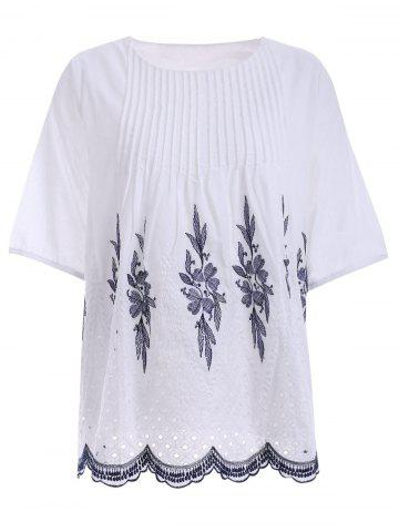 Latest Embroidered Ribbed Peasant Blouse