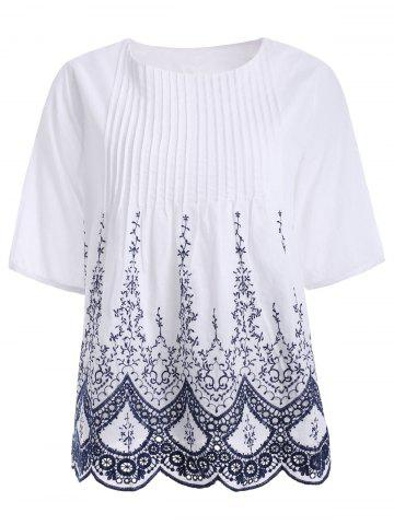 Outfits Chic Ethnic Embroidered Pleat Crochet Shirt For Women