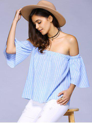 Store Bell Sleeve Stripe Off The Shoulder Blouse