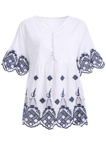 Trendy Ethnic Style Button Up Embroidered Scalloped Women's Blouse