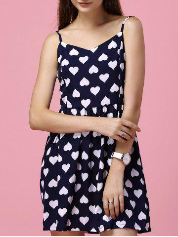 Chic Sweet Spaghetti Straps Heart Print Backless Dress For Women