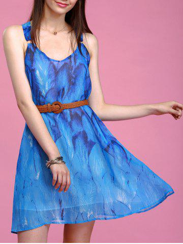 Chic Refreshing Feather Print Sleeveless Chiffon Dress For Women BLUE L