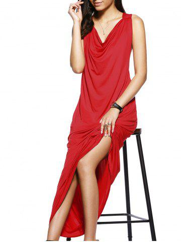 Online Trendy Draped Neckline Pure Color Side Cut Out Maxi Dress For Women