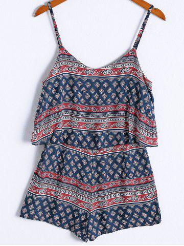 Buy Ethnic Style Spaghetti Strap Flounce Tribal Print Romper For Women