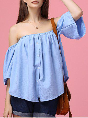 Outfits Sweet Off The Shoulder Flare Sleeves Blue Shirt For Women