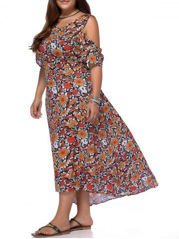 Buy Chic Plus Size Cold Shoulder High Low Hem Women's Floral Print Dress COLORMIX 5XL