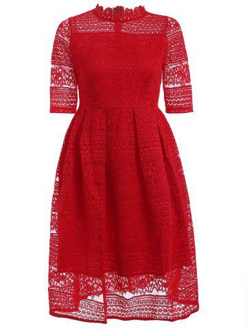 Latest Stunning Stand Collar High Waist Lace Dress