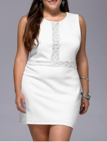 Unique Stylish Plus Size Sleeveless White Lace Spliced Women's Dress