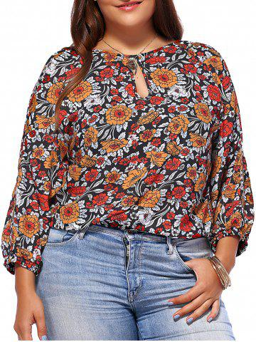New Chic Plus Size Keyhole Neck Floral Print Women's Blouse