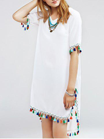 Fancy Stylish Multicolor Fringed Furcal Dress For Women