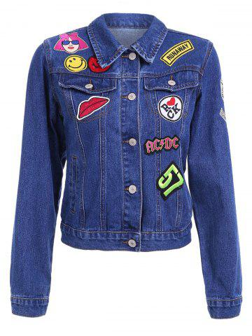 Outfits Chic Shirt Collar Long Sleeve Patchwork Topstitching Denim Jacket For Women