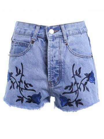 Vintage Style High Waist Raw Edged Floral Embellished Denim Shorts For Women - Light Blue - S