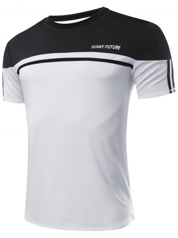 Buy Slimming Color Block Gym T-Shirt For Men