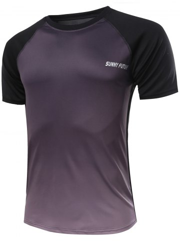 Cheap Casual Ombre Color Gym T-Shirt For Men BLACK 2XL