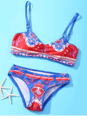 Sale Ethnic Spaghetti Straps Laciness Abstract Print Bikini Set For Women BLUE AND RED XL