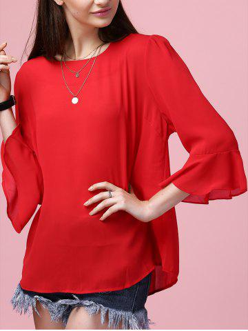 Fashion Sweet Flare Sleeve Round Neck Women's Chiffon Blouse RED 4XL