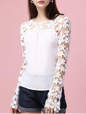 Hot Sweet Long Sleeve Lace Splicing Hollow Out Blouse