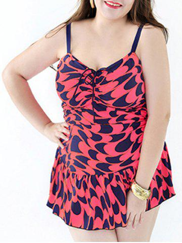 New Stylish Plus Size Printed Ruffled One-Piece Swimsuit For Women WATERMELON RED 7XL