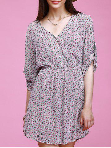 Sale Chic V-Neck 3/4 Sleeve Tiny Floral Print Button Design Women's Dress