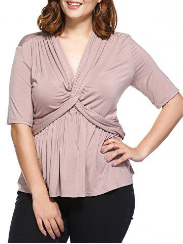 Hot Fashionable Fitted V-Neck Tangle Up Top For Women APRICOT 3XL