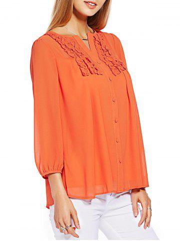 Latest Button Ruffle Chiffon Blouse
