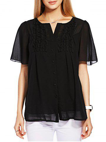 Shops Ruffle Short Sleeve Chiffon Blouse