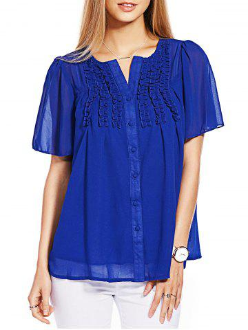 Shops Ruffle Short Sleeve Chiffon Blouse BLUE L