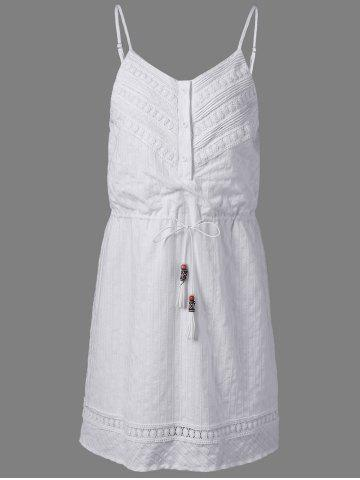 Best Fashionable Cotton Jacquard Harness Dress For Women - XL NATURAL WHITE LIGHT Mobile