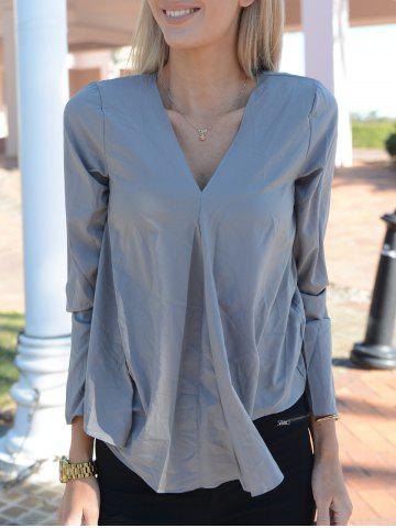 Hot Stylish V Neck Long Sleeve Pure Color Asymmetrical Women's Blouse